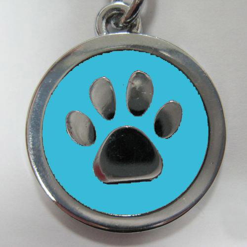 金屬-藍色狗掌形狀寵物牌